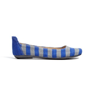 "Yummy!  These blue striped ballet flats are handcrafted by a man lovingly known in the slum of La Limonada in Guatemala City as ""Don Otto"" (roughly translated ""Mr. Otto""). Each one of his shoes is crafted with not only skill, but a tremendous amount of love. His vision is to transform his community through honest jobs and relationships."