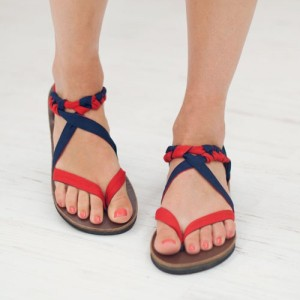 Sseko's ribbon tie sandals have interchangeable straps that can be styled in hundreds of ways. This pair is showcasing red/navy ribbons, but there are TONS of choices.