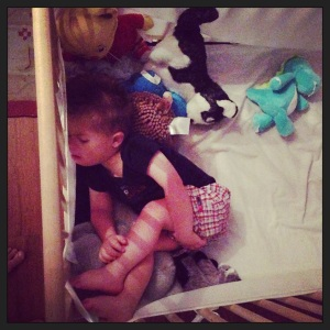 I like to push up against all my stuffed animals.
